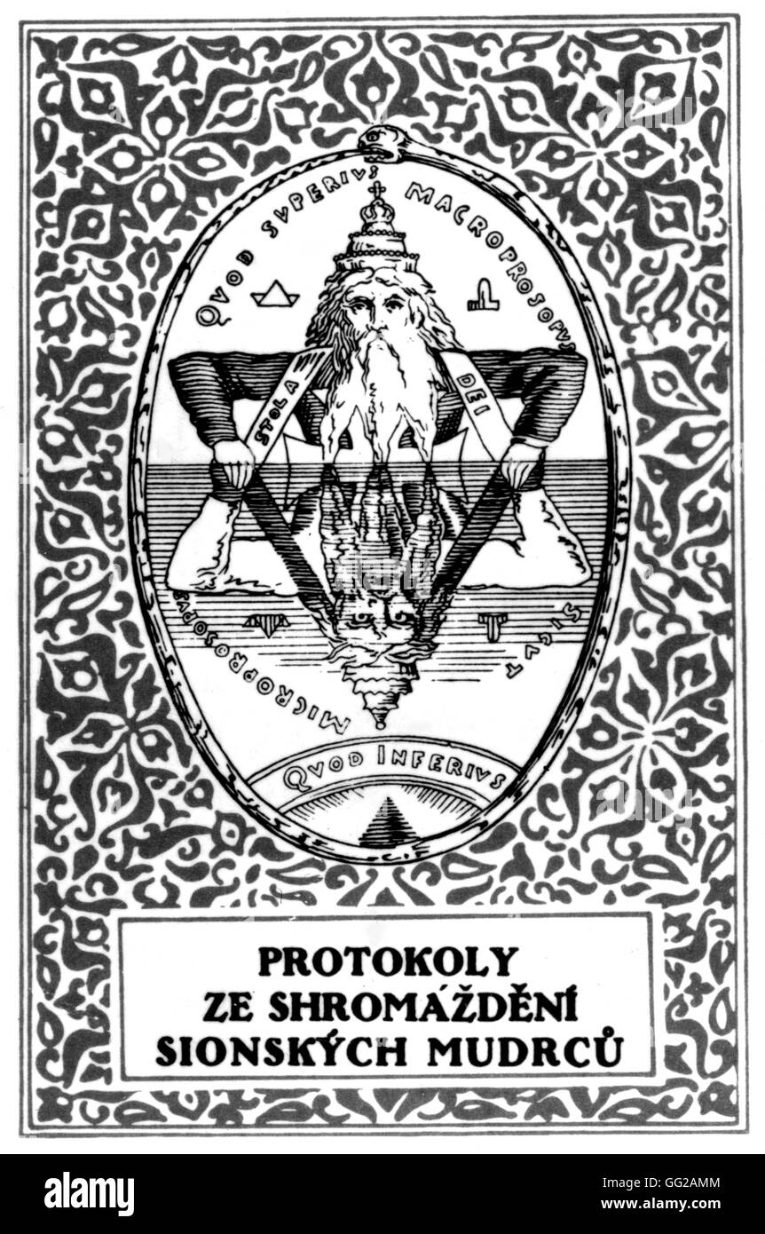 The Protocols of Zion. (Antisemitic publication). Czech edition 20th Czechoslovakia - Stock Image