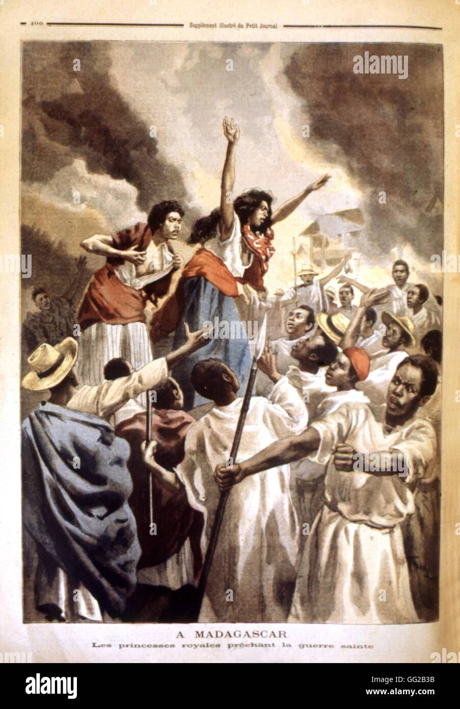 The royal princesses preaching the holy war  19th century Madagascar - Stock Image