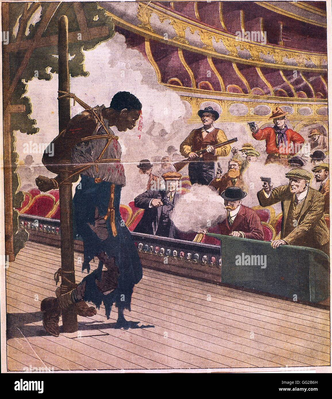 Lynching in Livermore A black man, tied up to a pole on the opera stage, is being shot at by white men Kentucky, Stock Photo