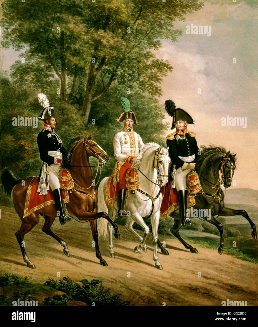 J.B. Mansfield and Klein The three monarchs: Alexander I, Francis II and F. Wilhelm III 1816 Vienna, Albertina museum - Stock Image