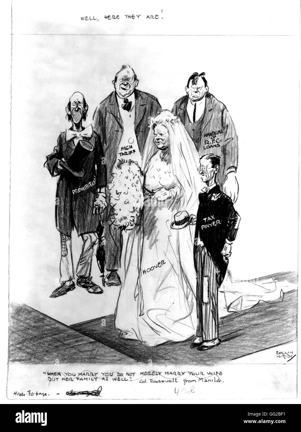 Satirical cartoon by Kirby about President Hoover's policy . c.1930 Washington, Library of Congress - Stock Image