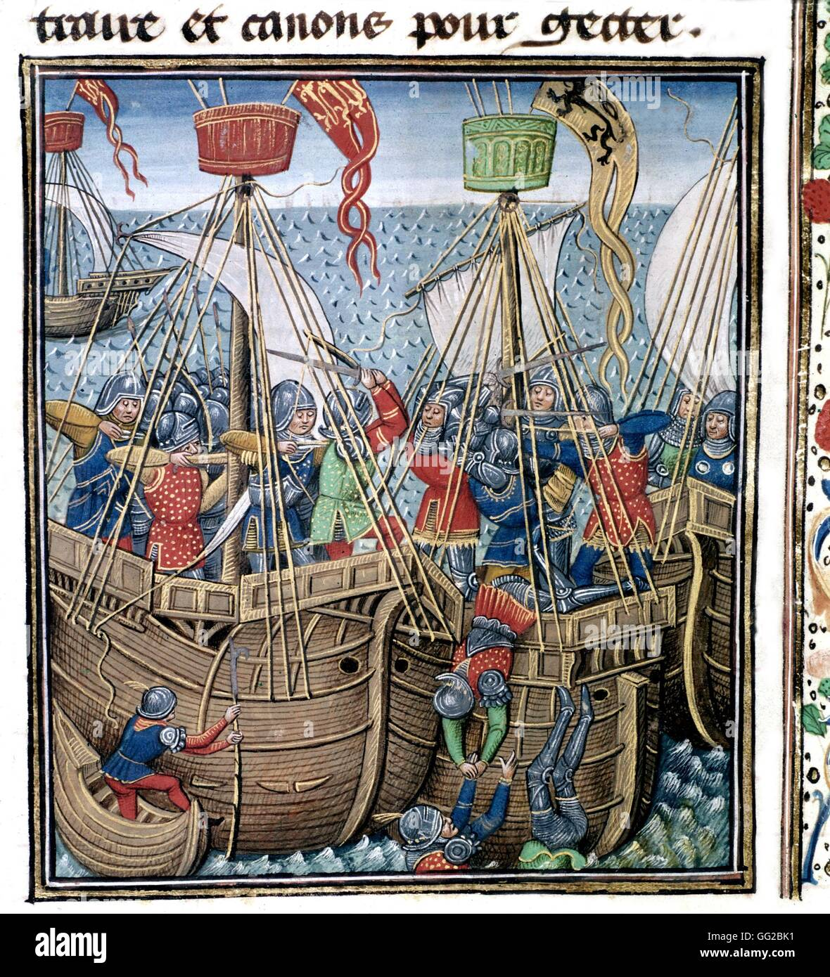 Froissart's Chronicles. Battle of the Ecluse (Battle of the Hundred Years' War, in 1340) 15th century France - Stock Image