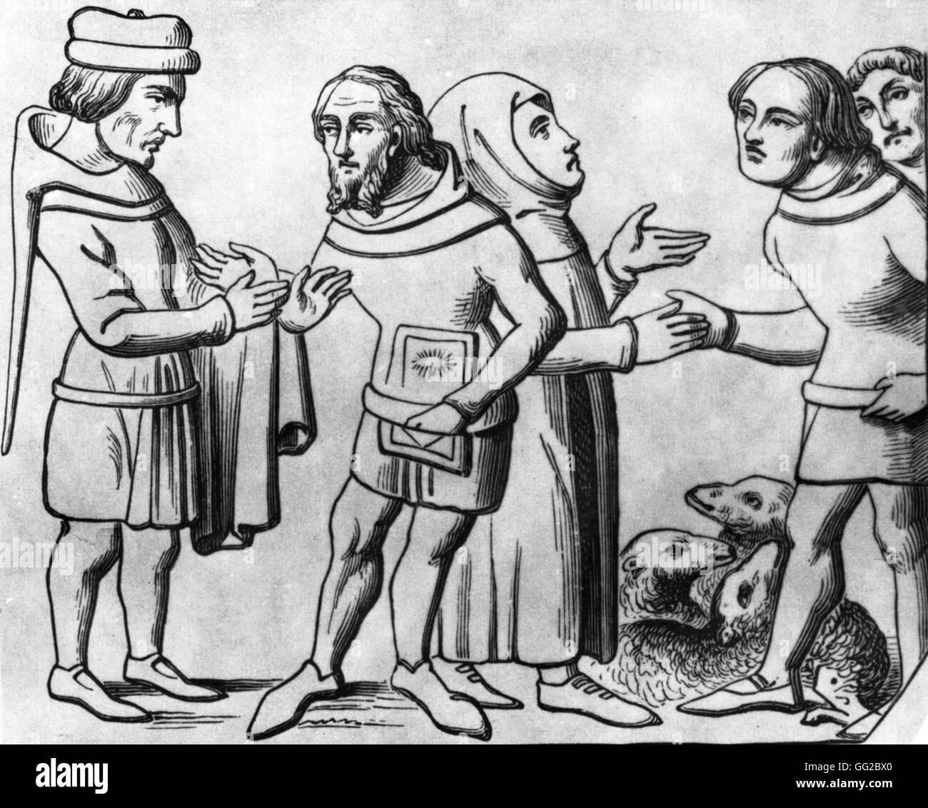 Merchants Miniature, Middle Ages France - Stock Image