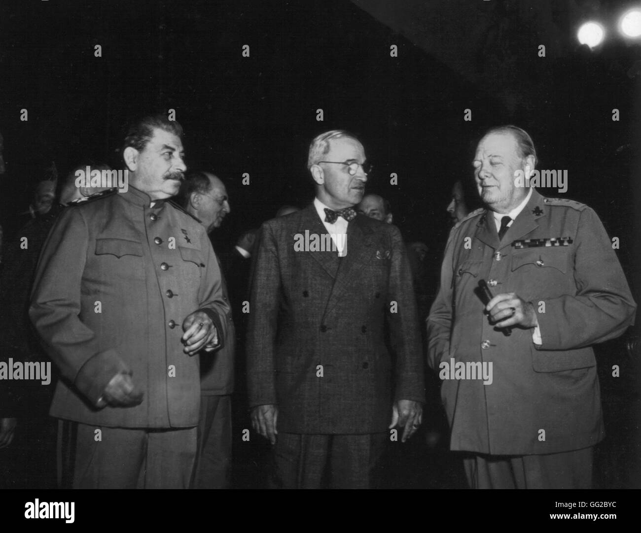 Potsdam conference. Truman, Stalin and Churchill 1945 World War II National Archives - Washington - Stock Image