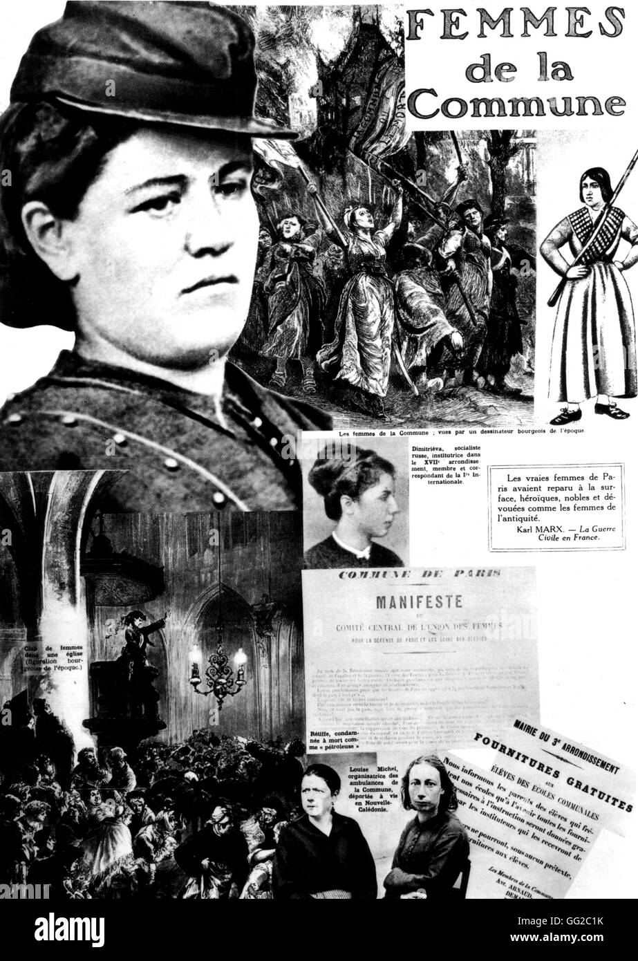 Commune women. Photomontage published in the newspaper 'l'Humanité', in a special issue about the - Stock Image