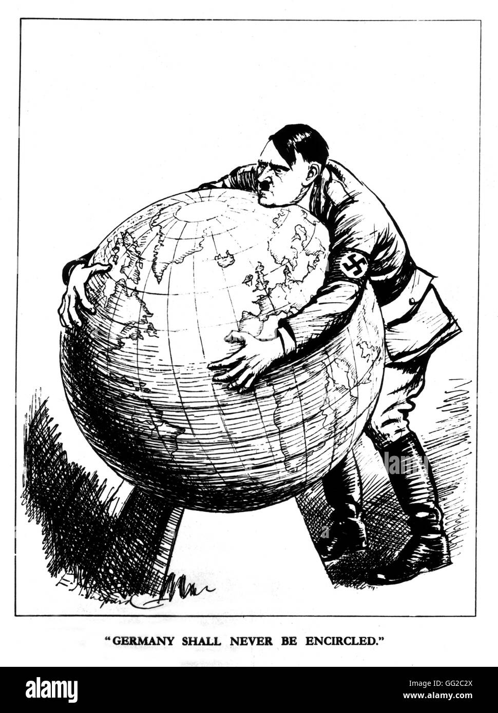 """Satirical cartoon published in """"Punch"""". Hitler is grabing hold of the world: """"Germany shall not be surrounded"""" 20th Stock Photo"""