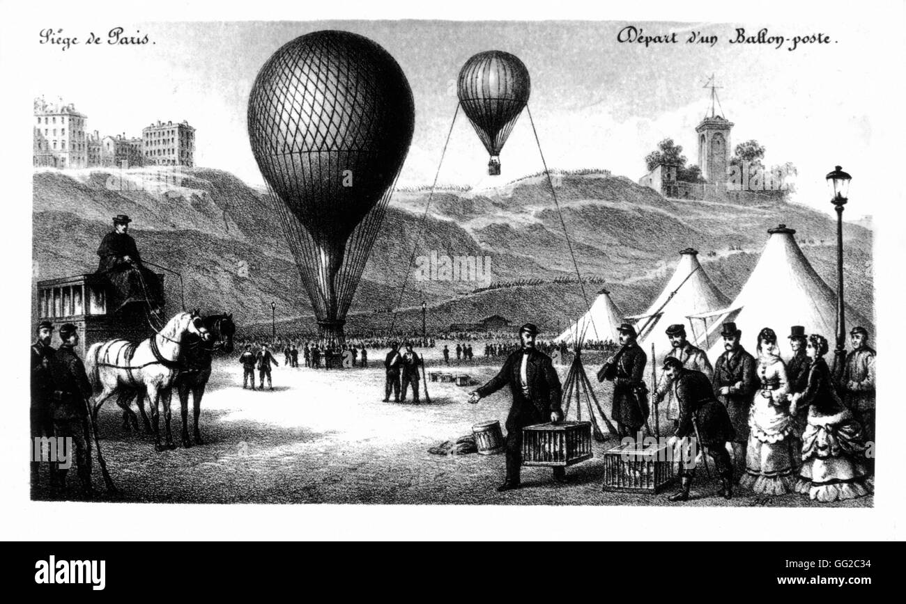 Siege of Paris. Departure of a postal balloon 1870 France - War of 1870 - Stock Image