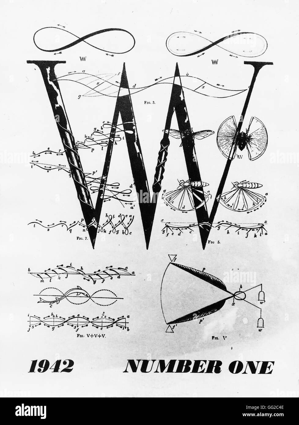 First issue of the surrealist magazine 'VVV', founded by Breton, Duchamp and Ernst 1942 France - Stock Image