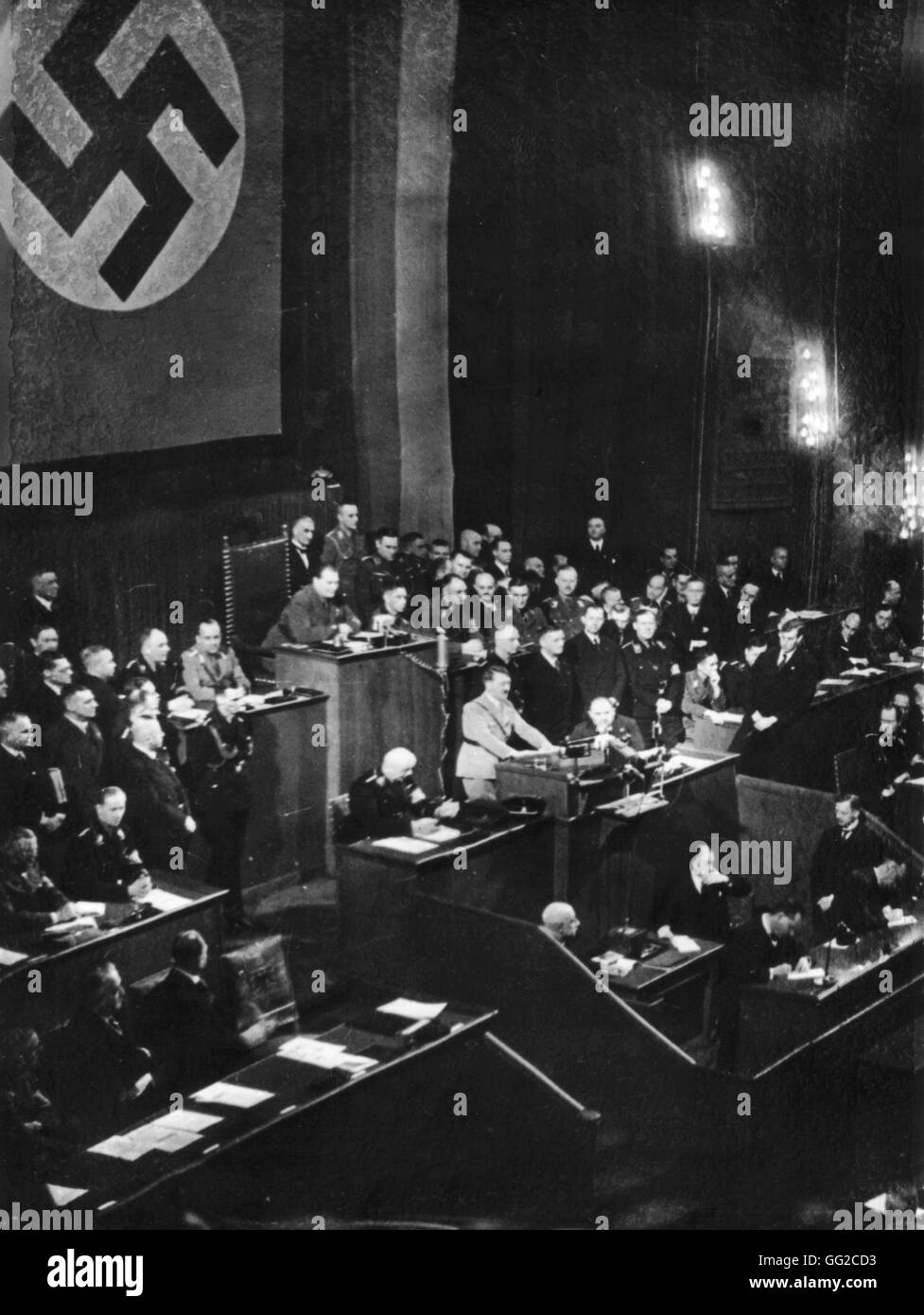 Hitler delivering a speech at the Reichstag, 1st anniversary of the National Socialist victory January 30, 1934 - Stock Image