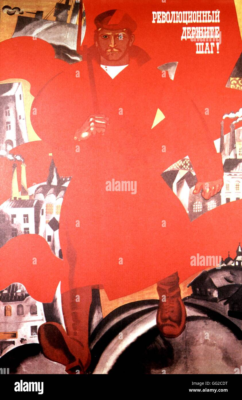 Propaganda poster by Oleg Savostink: 'Stay on the way of the Revolution' 104 x 68 cm 1967 U.S.S.R. - Stock Image