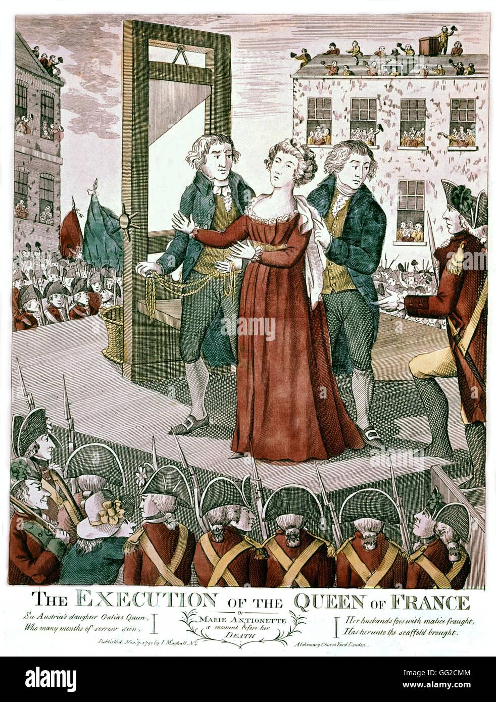 Execution of Marie-Antoinette, Queen of France October 16, 1793 1793  English engraving France, French Revolution of 1789