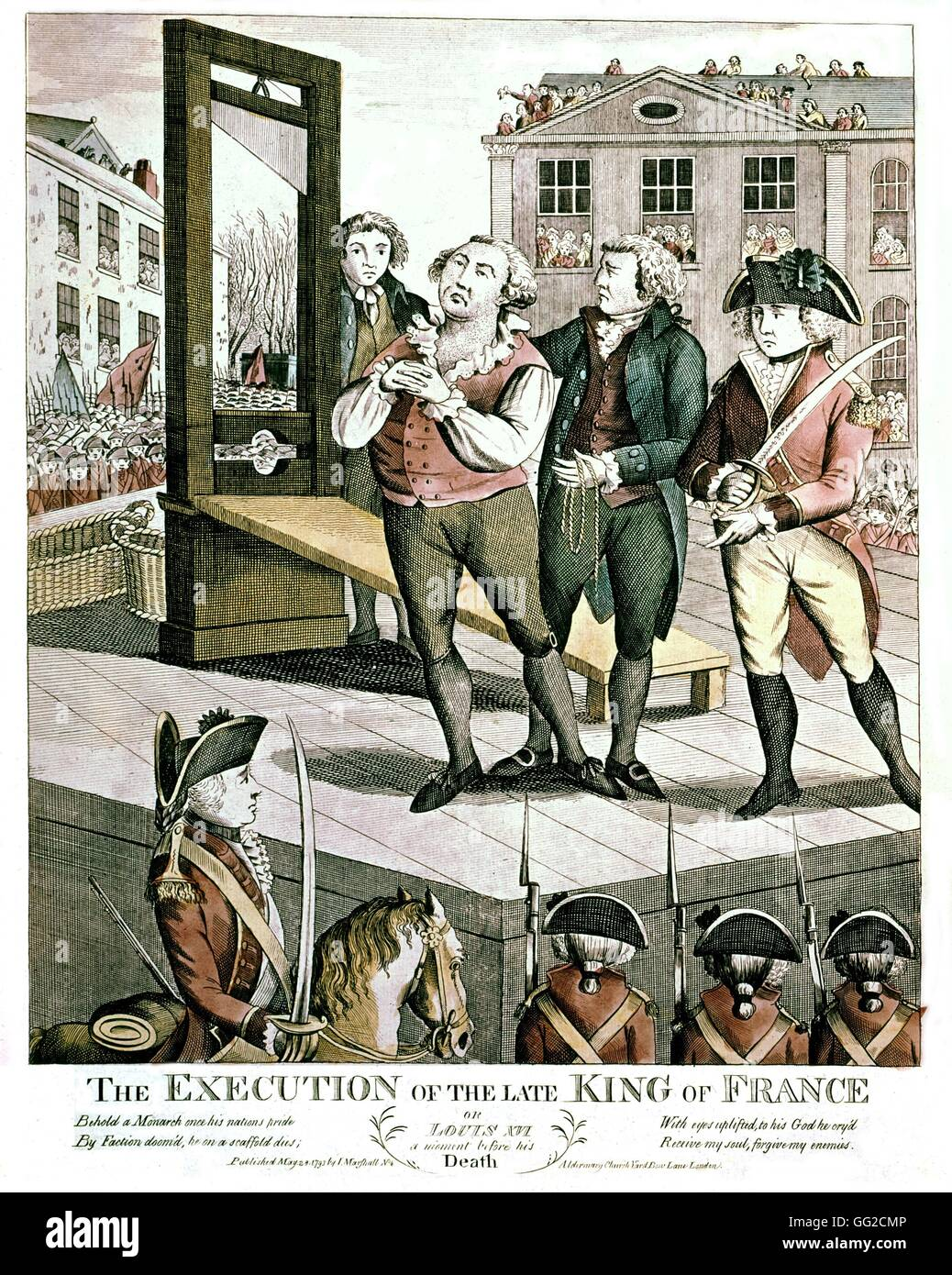 Execution of Louis XVI, King of France 1793 English engraving France,  French Revolution of 1789