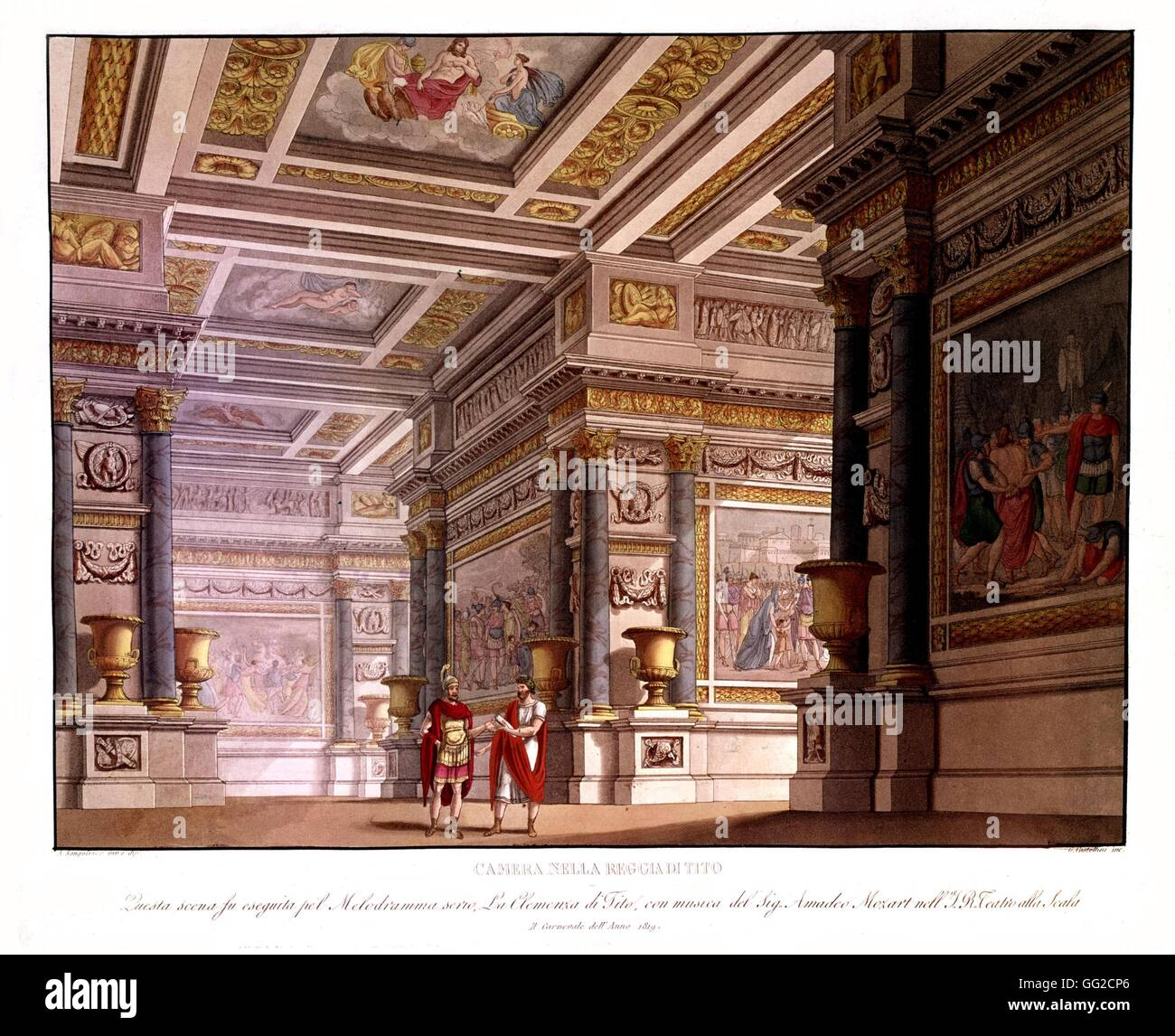 Sanquirico Theater set for Mozart opera's 'The Clemency of Titus' 1819 London, Victoria and Albert museum - Stock Image