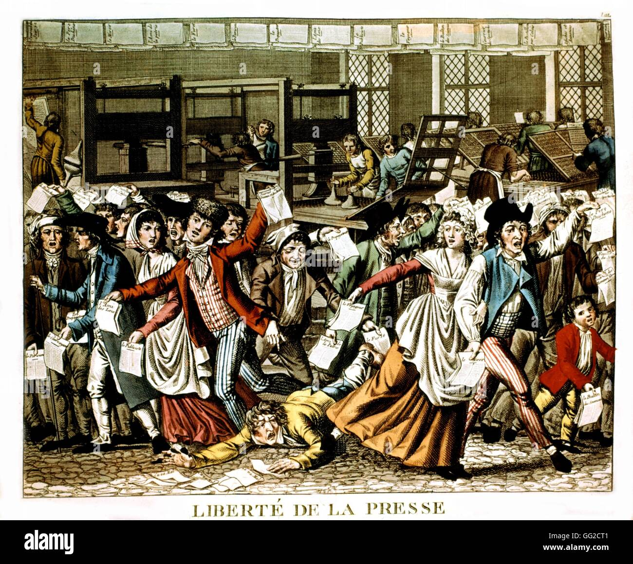 Anonymous engraving Liberty of the Press March 1797 France, 1789 French  Revolution