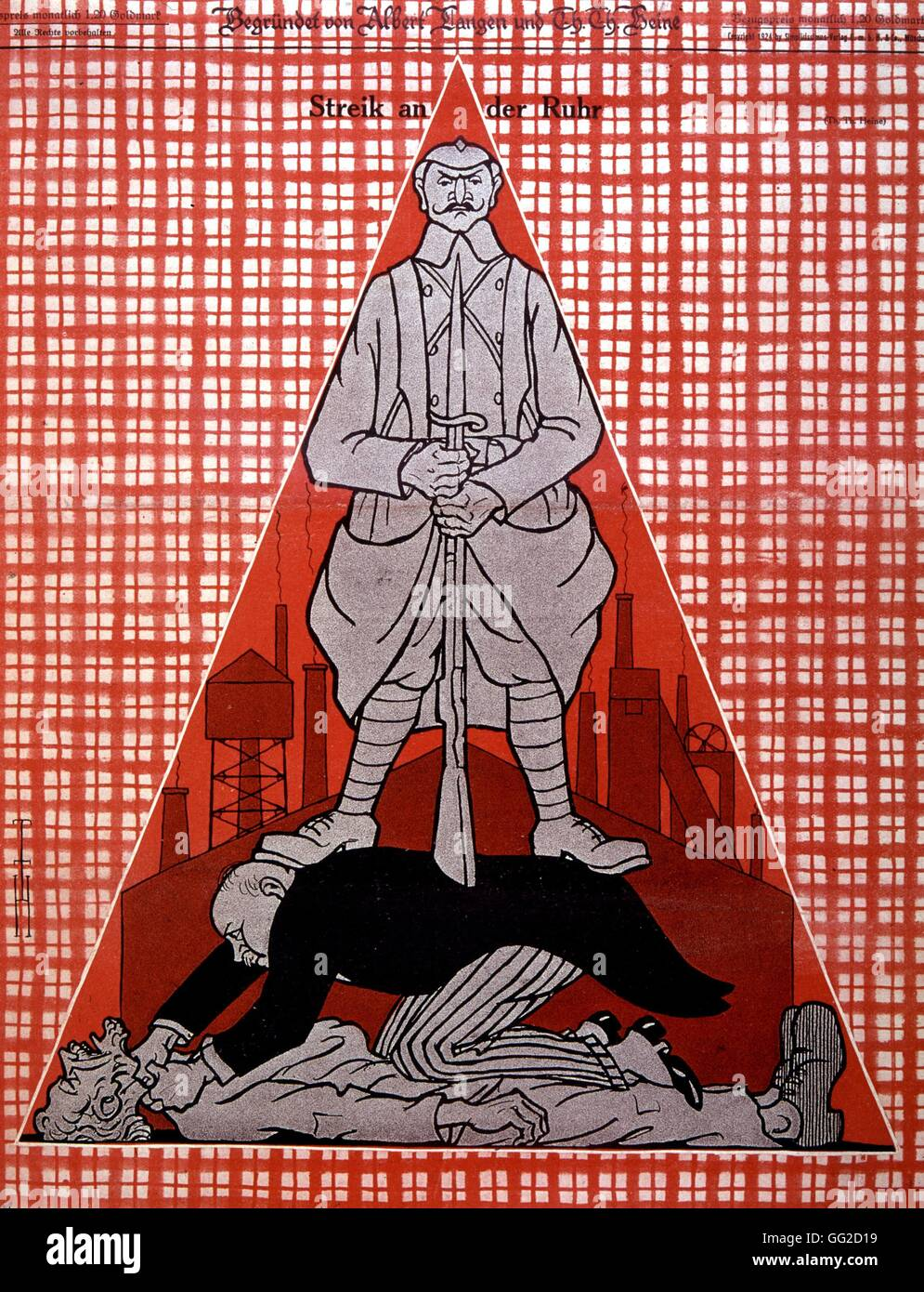 Caricature by Heinrich Heine Strike in the Ruhr region, Germany 1924 Germany - Stock Image