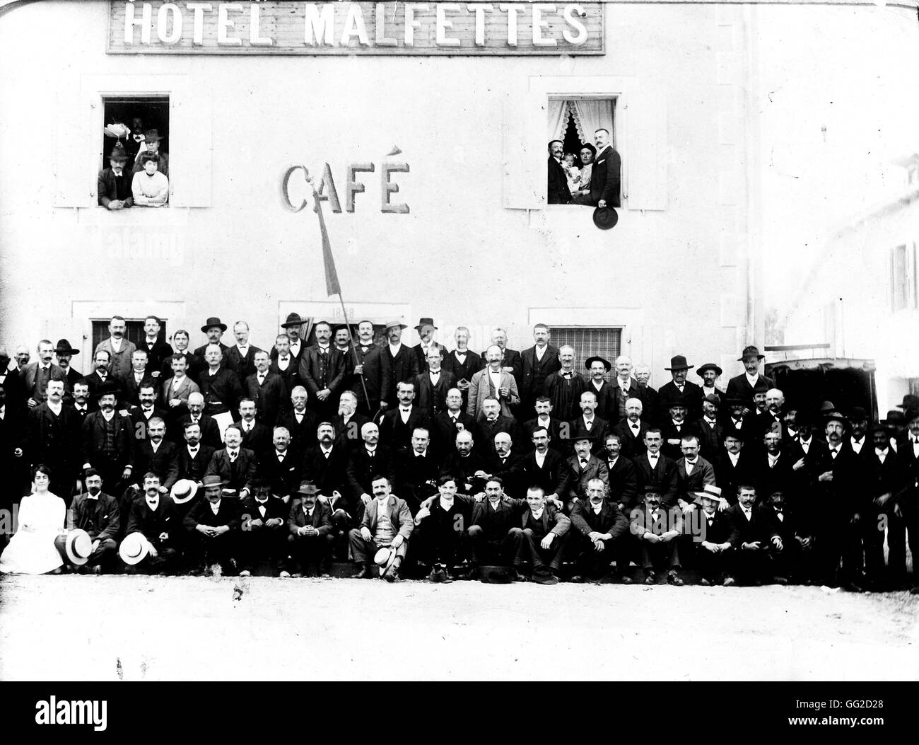 Jaurès and the socialists from a French village called Pampelone 1910 France - Stock Image