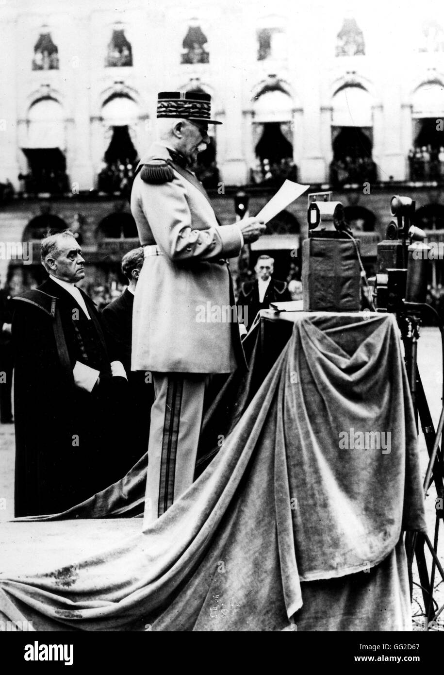 In Nancy marshal Petain is uttering a speech for marshal Lyautey's funeral August 1934 France Paris. National - Stock Image