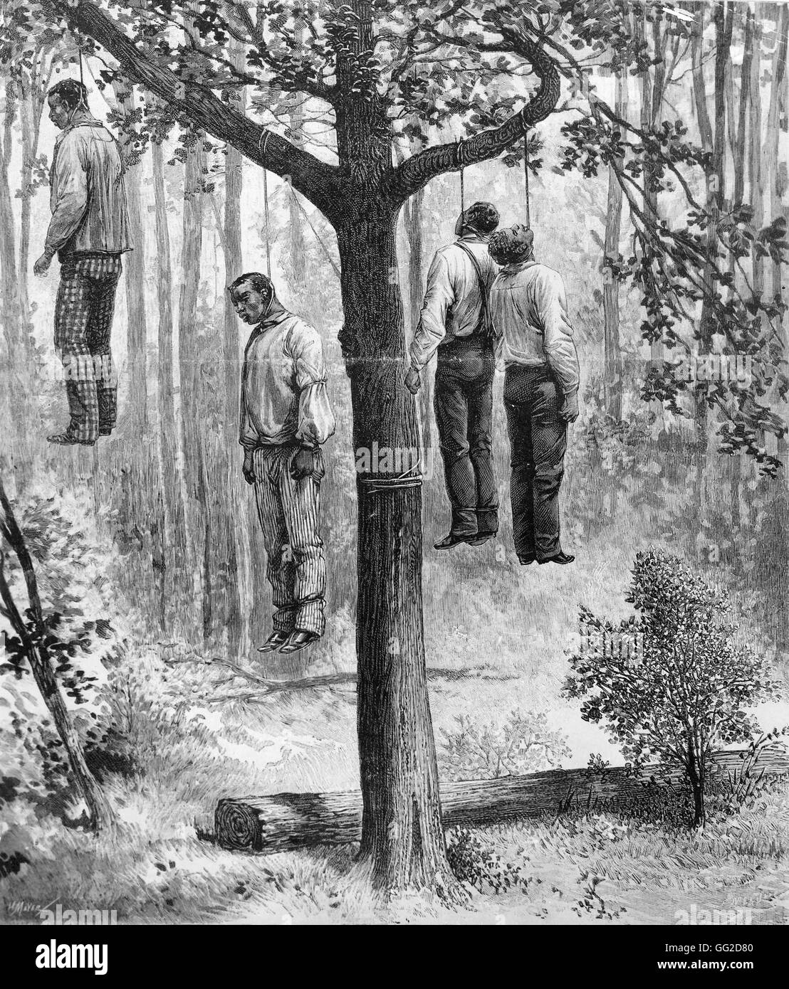 Lynching scene in the United States. 4 blacks hung 1892 United States - Stock Image