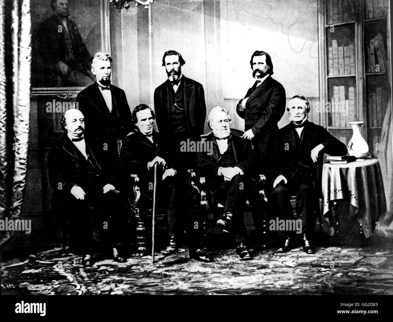 Photo by Brady. The accusation committee of United States president Andrew Johnson (1808-1857), before the Senate, - Stock Image