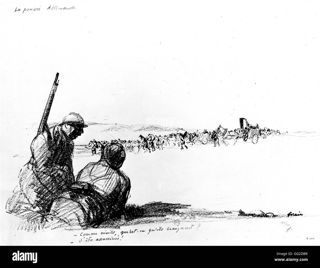 Caricature by Jean-Louis Forain (1852-1931). 'The German Push' 18-06-1918 France - World War 1 Paris. National - Stock Image