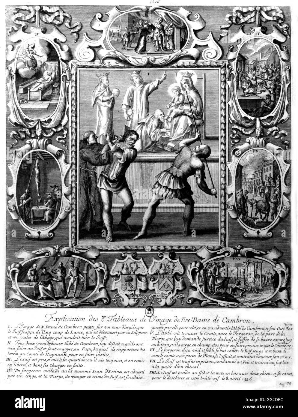 Persecution of a Jewish blasphemer of the image of Our Lady of Cambron 1615-1628 France Paris. National Library - Stock Image