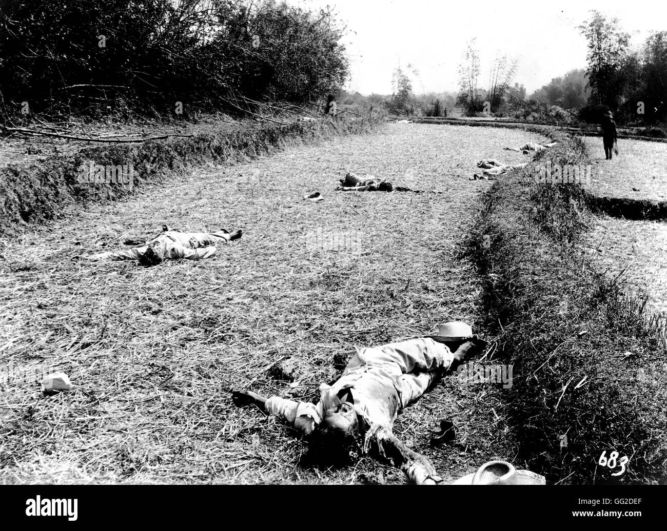 The Philippines War: corpses of insurgents Photo Perley Frémont Rockett 1899 Hispano-American war Washington. Library Stock Photo