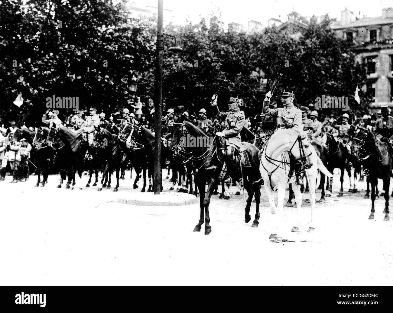 The victory parade in Paris From left to right: Foch, Pétain and Weygand July 14, 1919 France - Stock Image