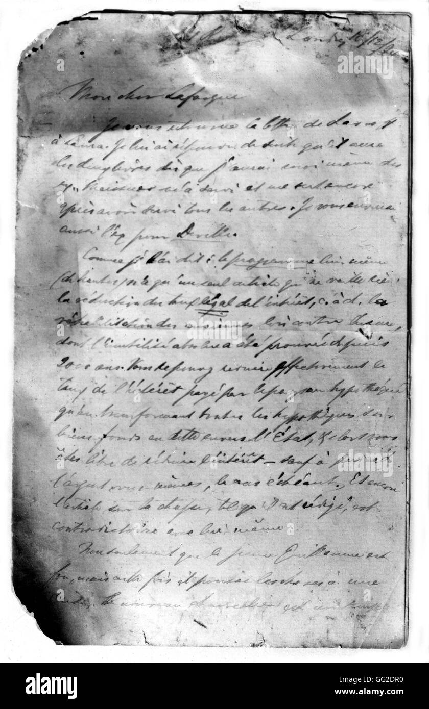 Letter written by Engels to Lafargue 1874 Germany - Stock Image