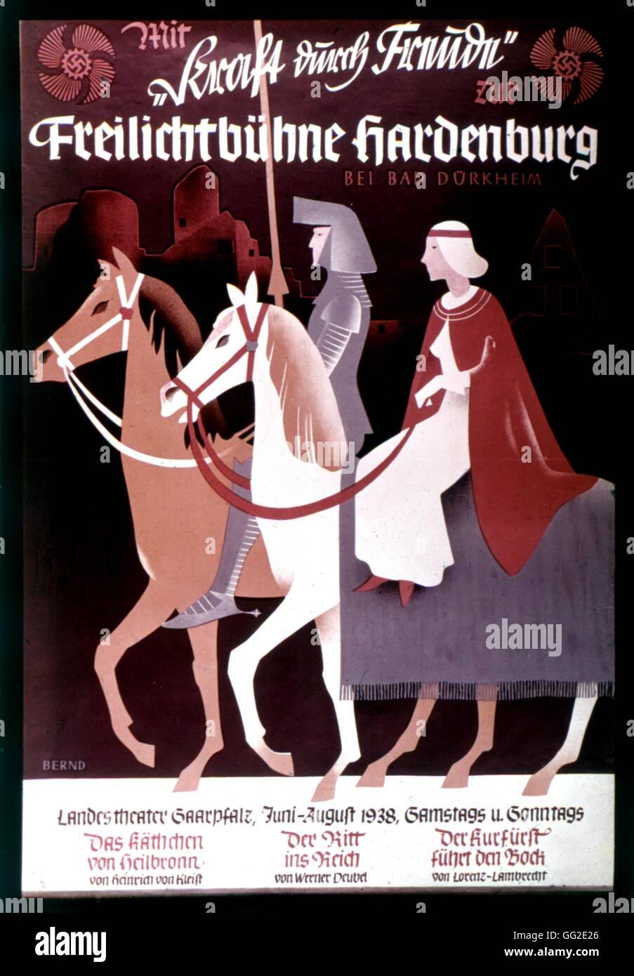 Propaganda poster Organization of leisures and Nazi propaganda 20th century Germany - Stock Image