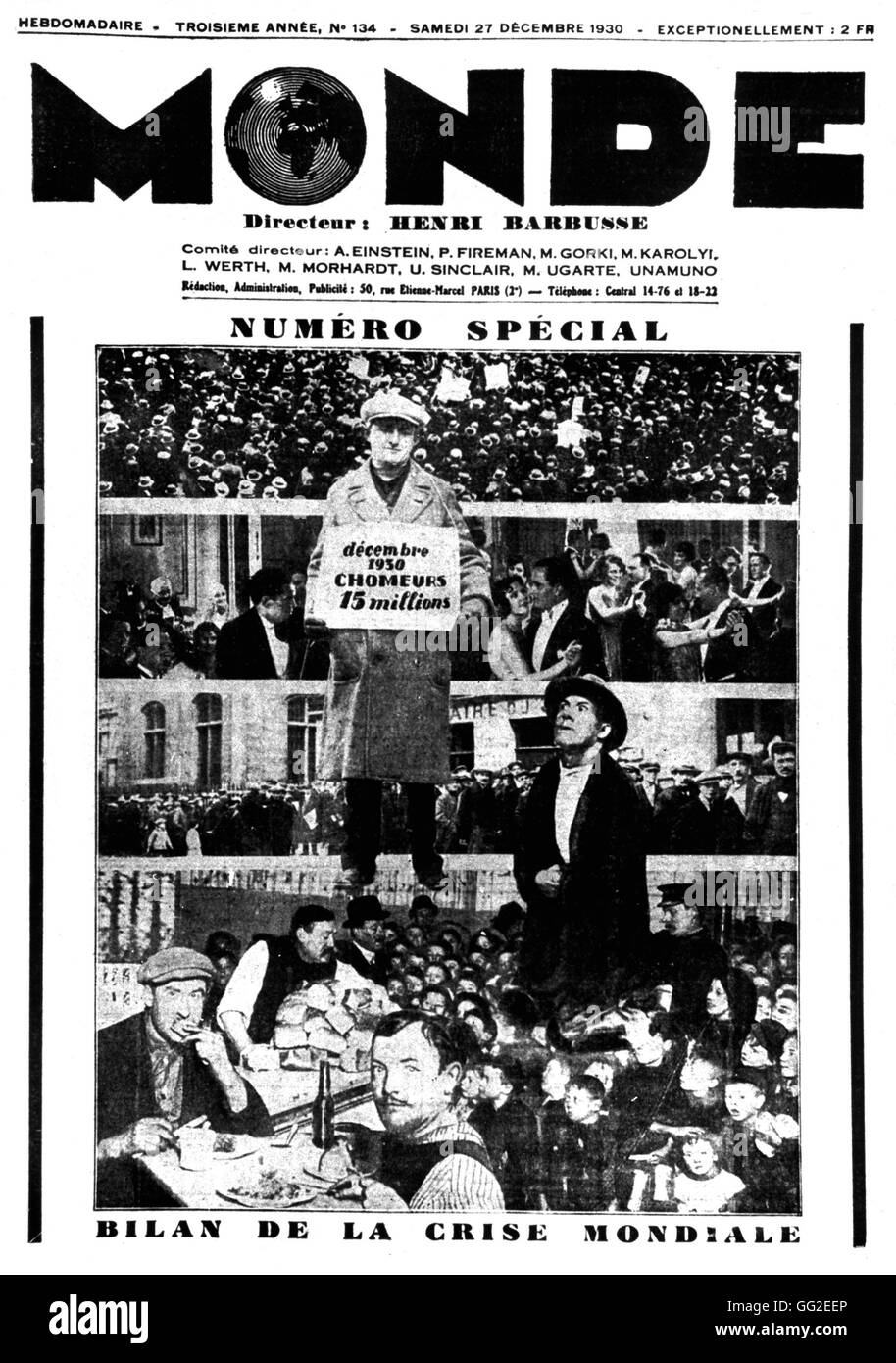 Special issue of the newspaper 'Monde' dated 12-27-1930: result of the world crisis France 1930 - Stock Image