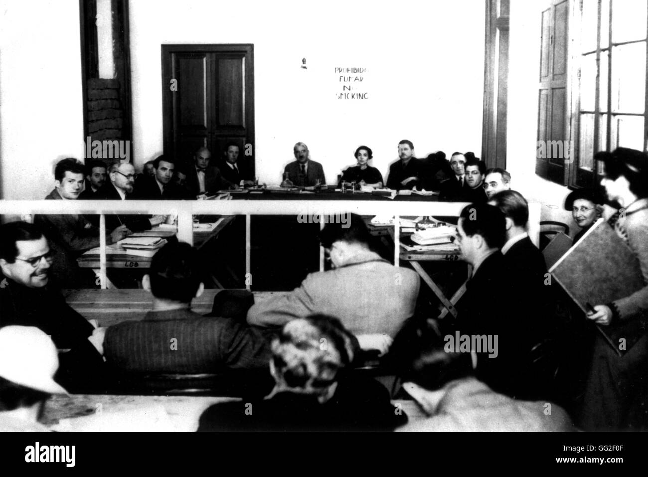 Mexico City. At Diégo Rivera's place, a commission in charge of the investigation on the charges of which - Stock Image