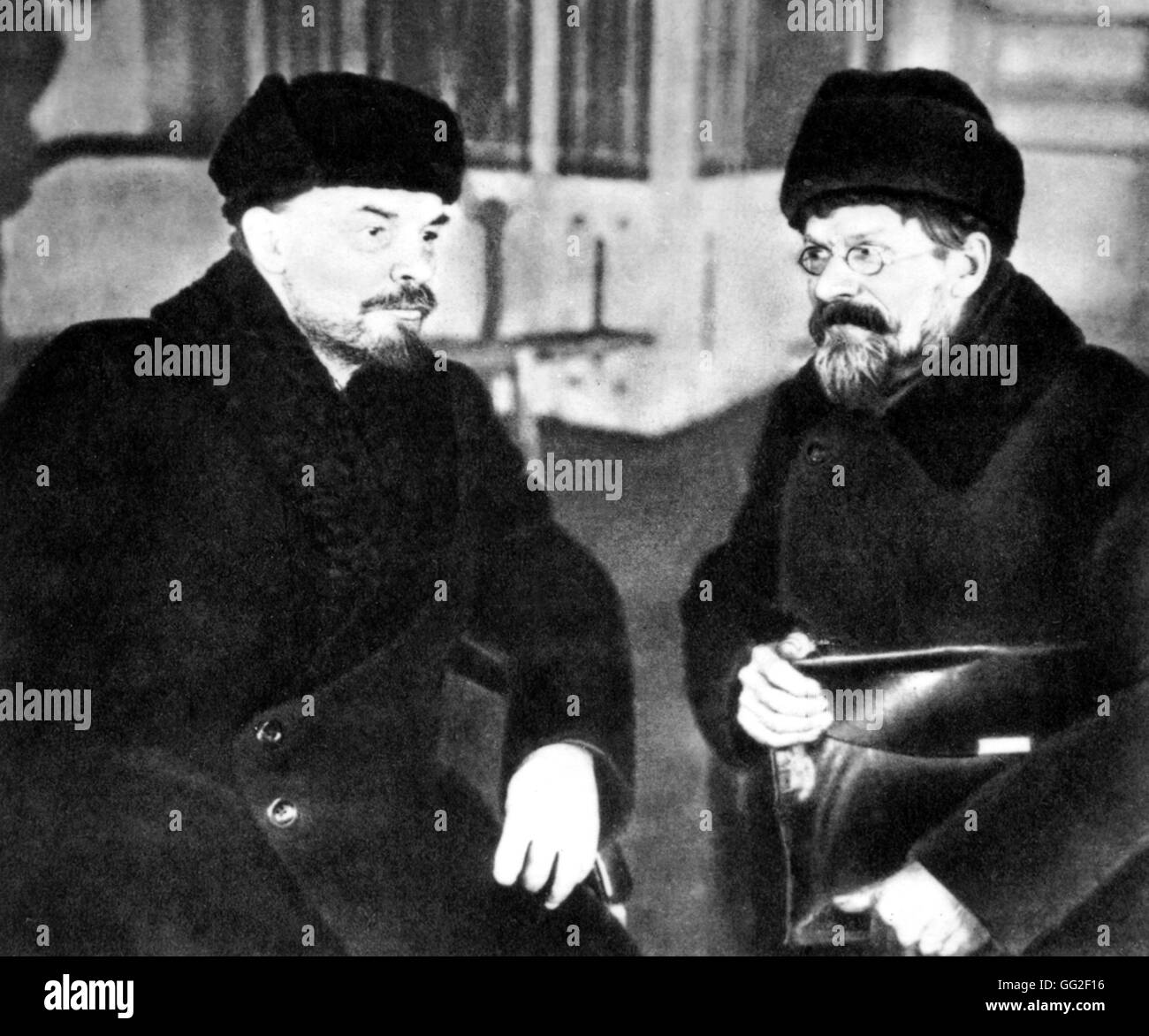 Moscow. Lenin and Kalinin at the Trade Union's House during the sitting of the 1st All-Russia Congress of working - Stock Image
