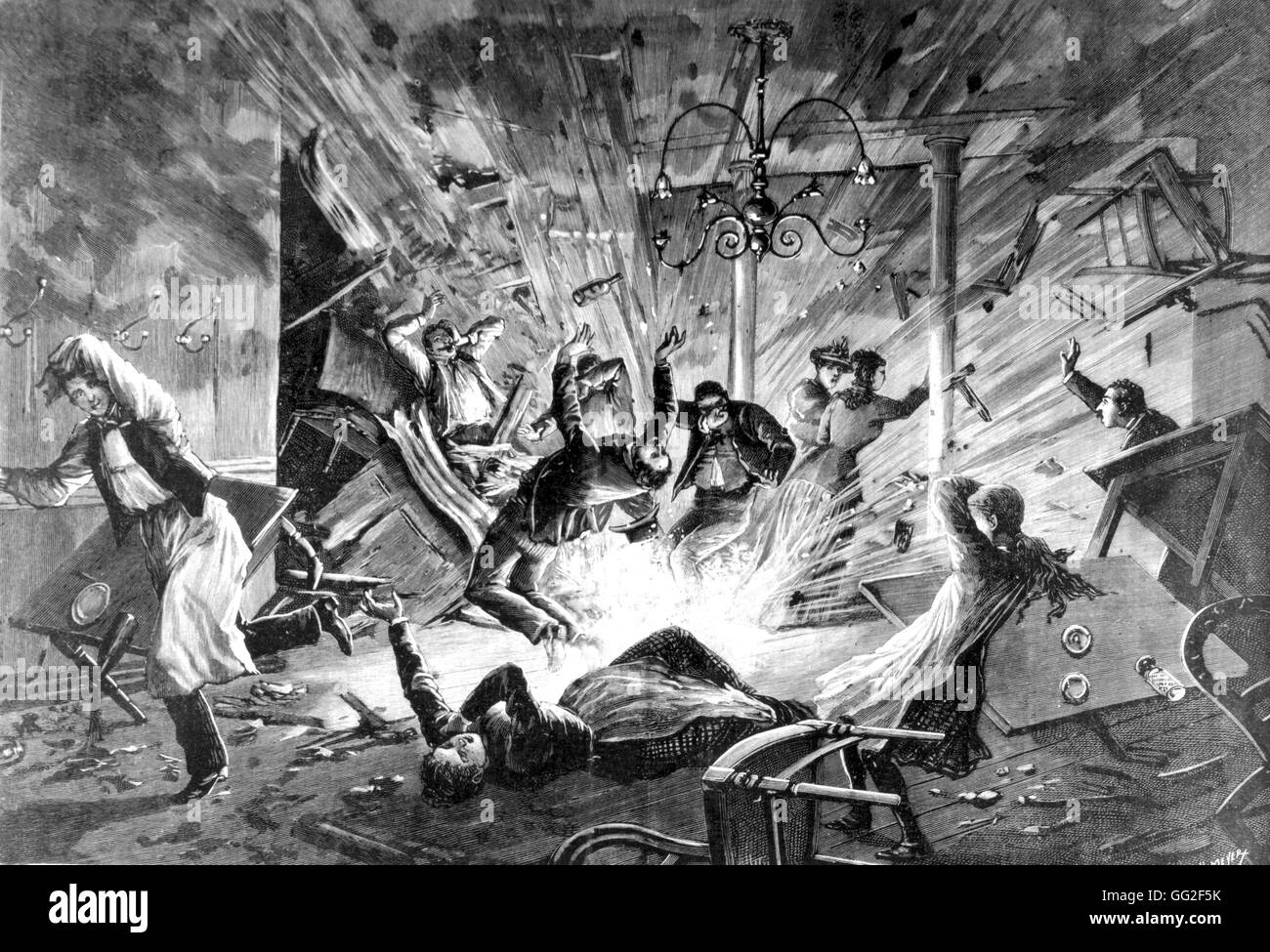 Paris. Anarchist attack on the boulevard Magenta.  The explosion May 1892 France - Stock Image