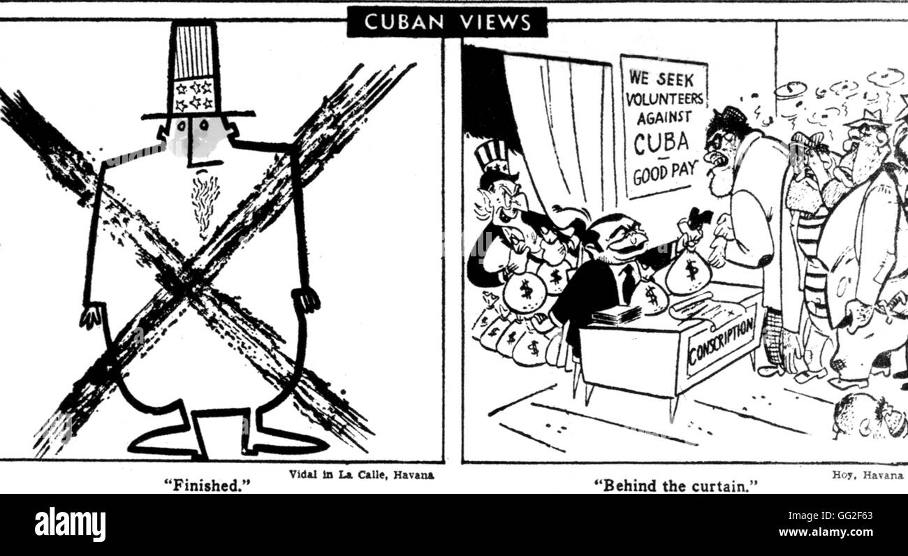 Landing At The Bay Of Pigs Satirical Cartoons Issued In A Cuban