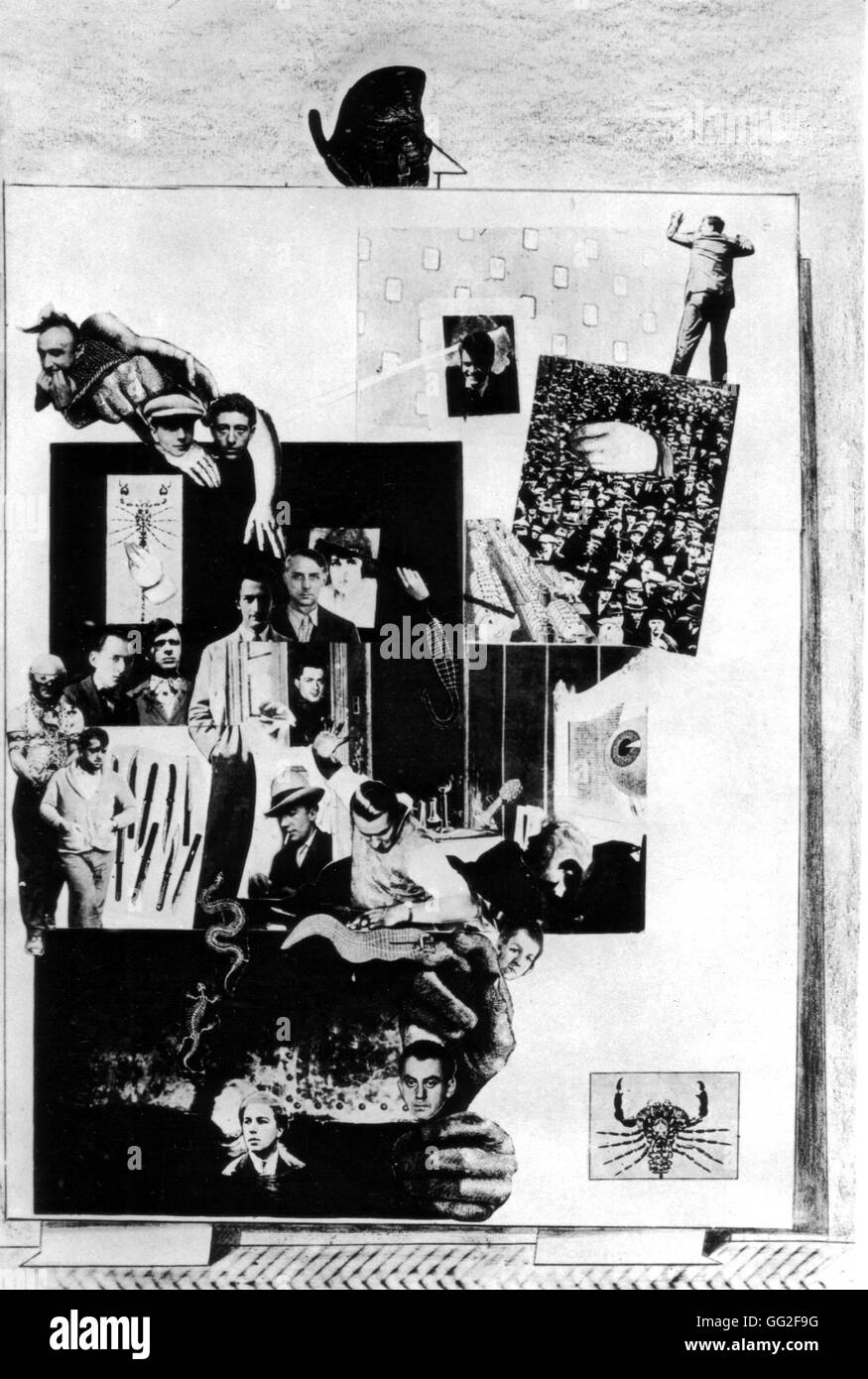Max Ernst (1891-1976) The surrealist group 1931 Collage France - Stock Image