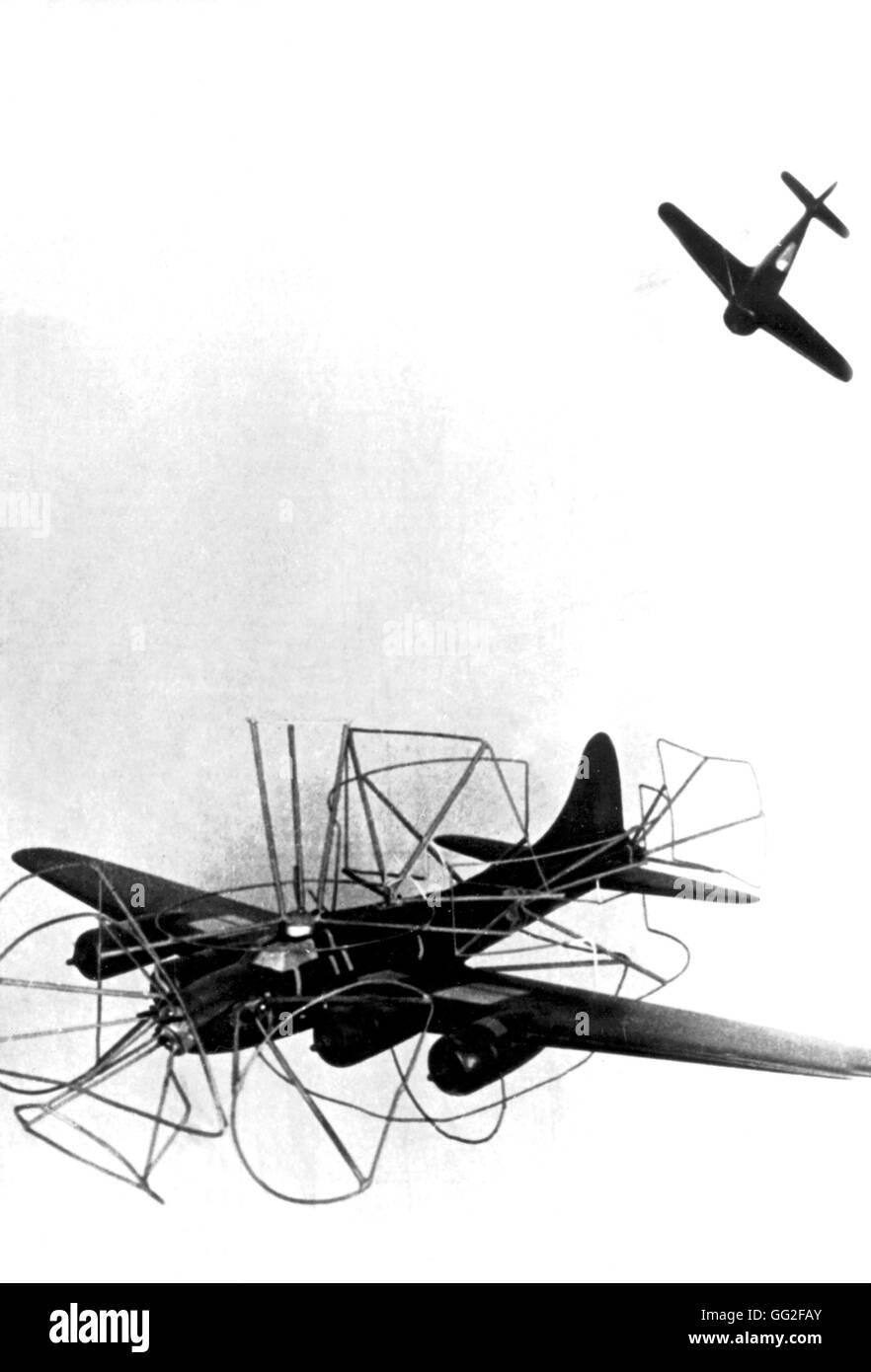 Focke Wulf 190 and Boeing Bit aircrafts February 1944 World War II Paris. Bibliothèque nationale - Stock Image