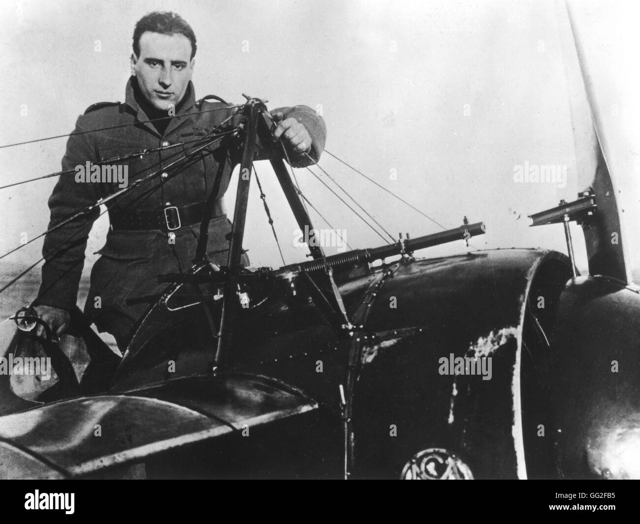 France. Aviator Jean Navarre in his fighter plane.  Photo: Rol July 1916 World War I Stock Photo