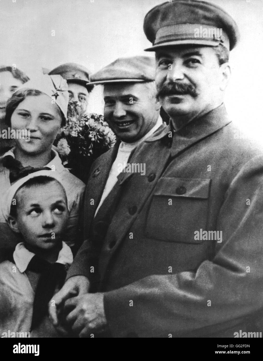 Khrushchev and Stalin during a formal ceremony 1937 USSR - Stock Image