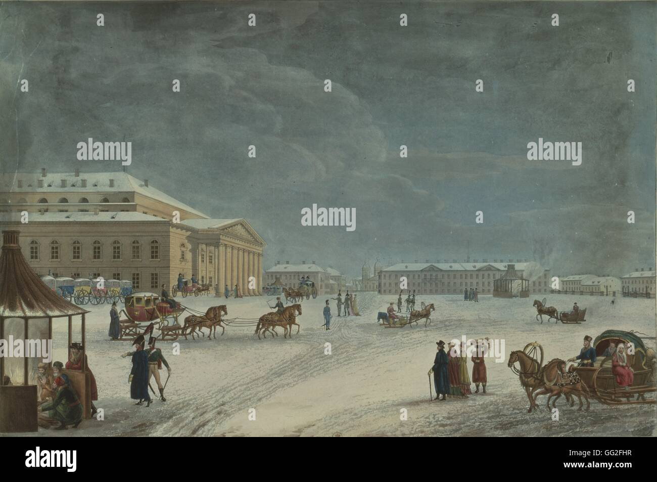 View of the Square and the Alexandrinsky Imperial Ballet Theatre Lithography, 1817 - Stock Image