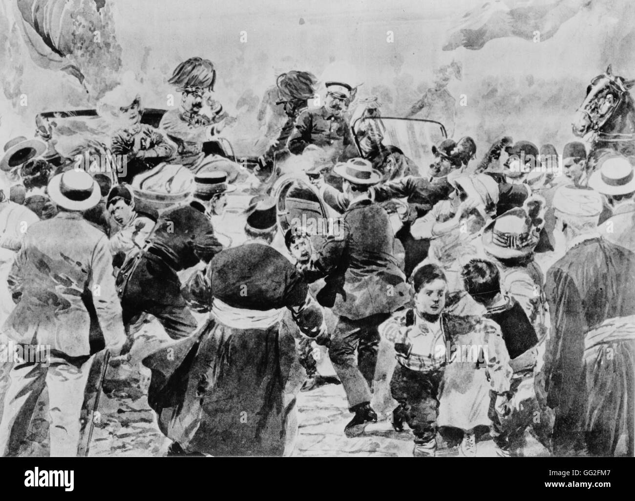 Première Guerre Mondiale. Assasination attempt in Sarajevo, 28th June 1914. Archduke Franz Ferdinand and his - Stock Image
