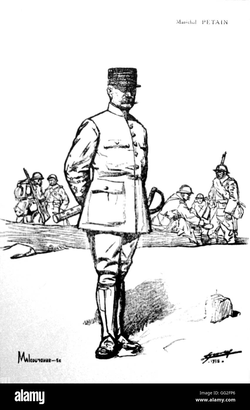 """First World War. Portrait of Philippe Pétain. Drawing by Lucien Jonas. Print by Malcouronne. In : """"La Guerre racontée Stock Photo"""