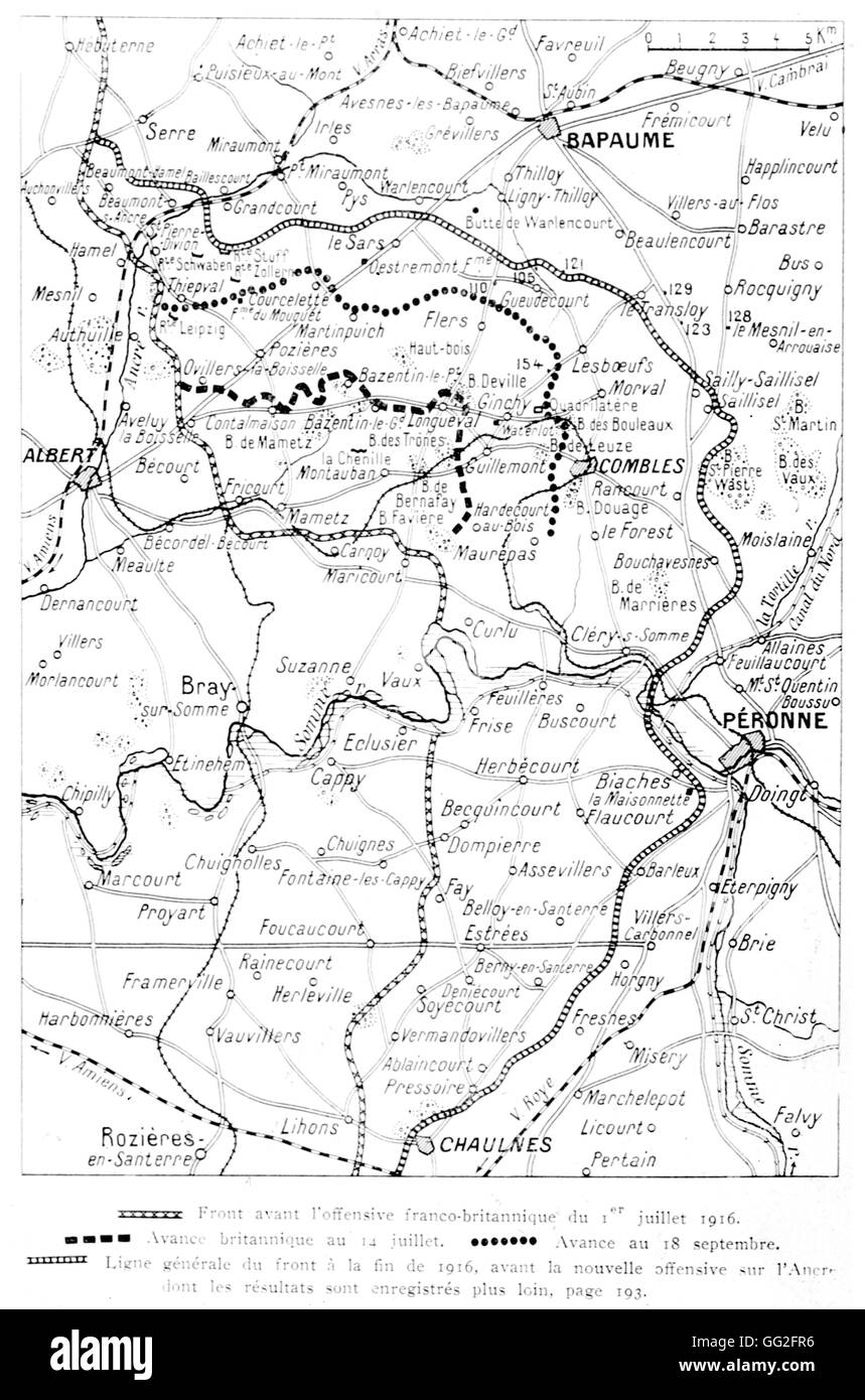 First World War. Results of an offensive on the Somme in 1916 according to the accompanying report by Sir Douglas - Stock Image