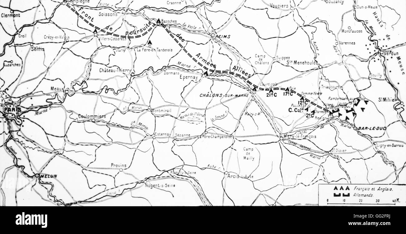 First world war map of the first battle of the marne the french first world war map of the first battle of the marne the french front lines on the 12th september 1914 gumiabroncs Images