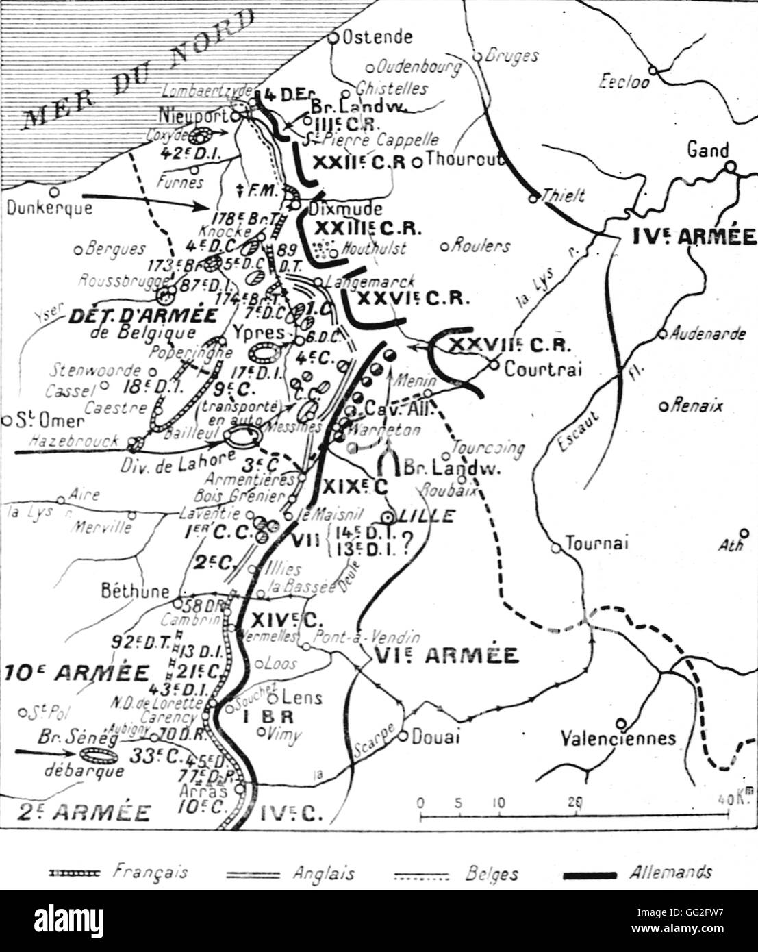 First World War. Map of the Franco-Belgian-British and German frontlines, 22nd October 1914, at the beginning of - Stock Image