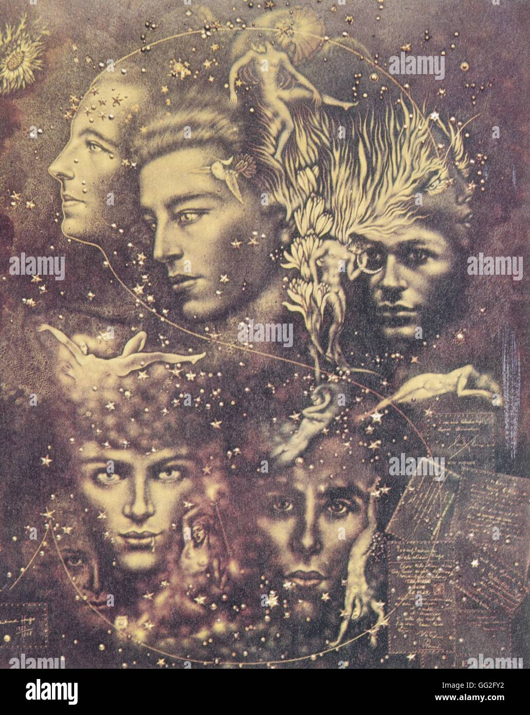 Valentine Hugo (1887-1968) French School The Surrealist Constellation. Portraits of Paul Eluard, André Breton, - Stock Image
