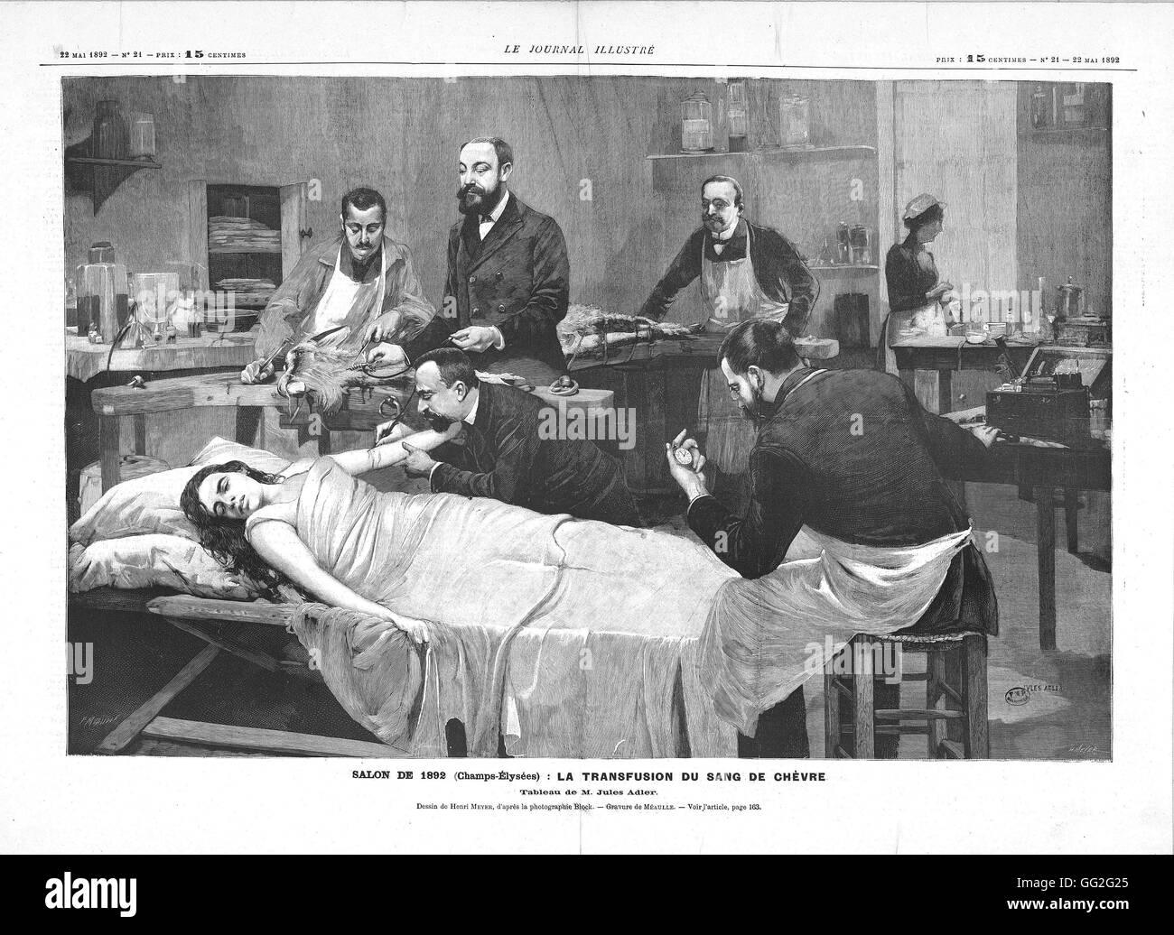 Henri Meyer French school Patient receiving a blood transfusion from a goat 1892  Engraving after the painting of - Stock Image