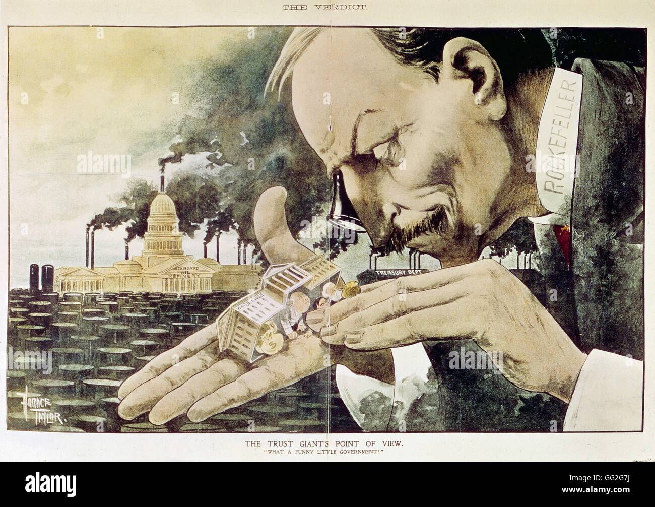 Horace Taylor American school Banker Rockefeller (1839-1937). Satirical cartoon when the verdict of the antitrust - Stock Image