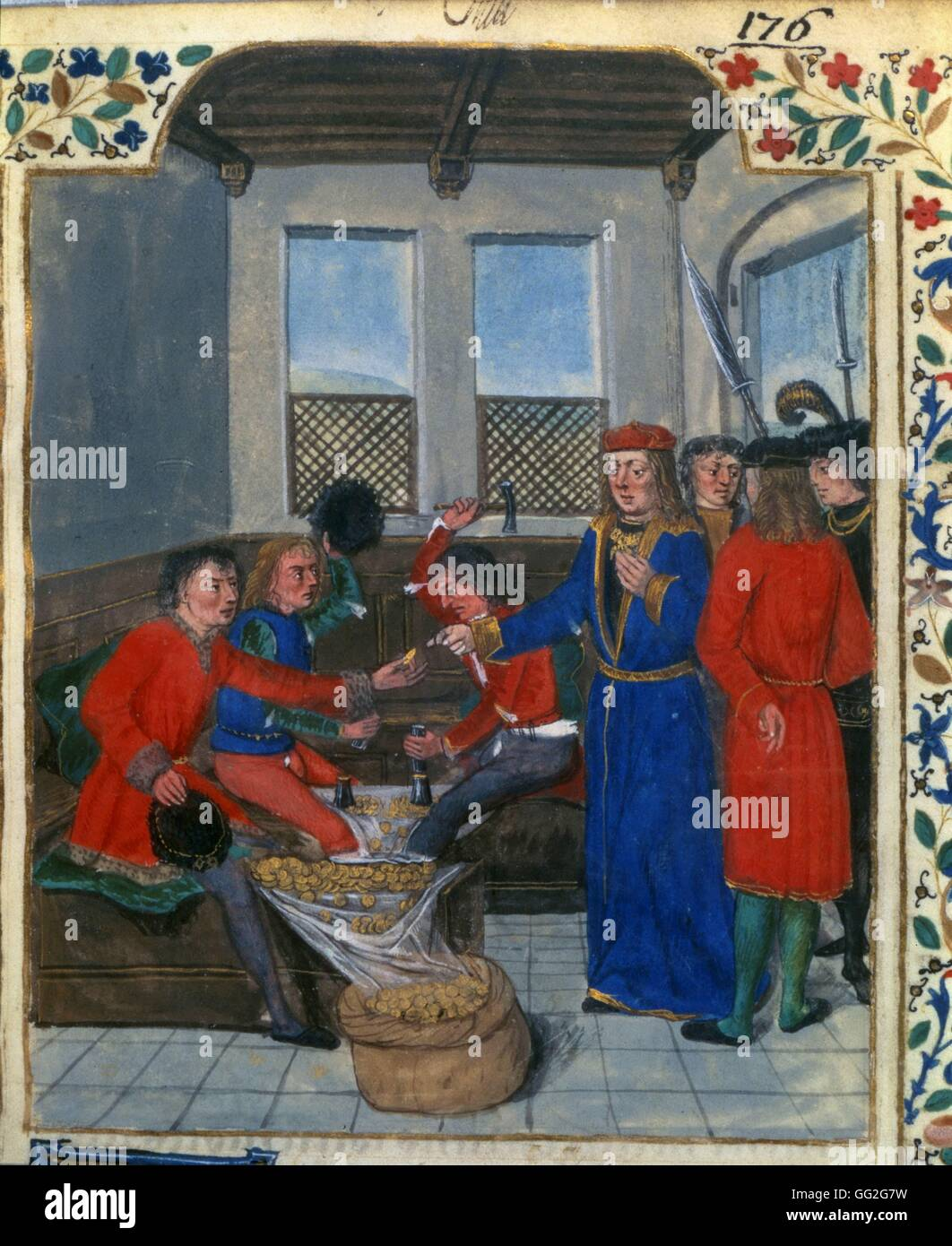 The Invention and Manufacture of Money. Miniature from The Royal Regulations on the Use of Money, made for King - Stock Image