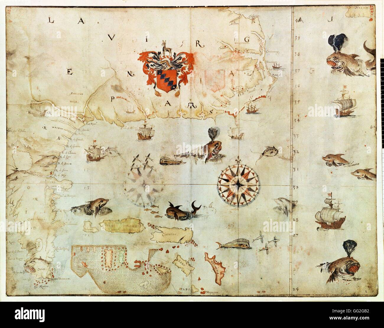 John White English school Map of North America: Virginia and Florida 1585-1593 Pencil, ink and watercolour on paper - Stock Image