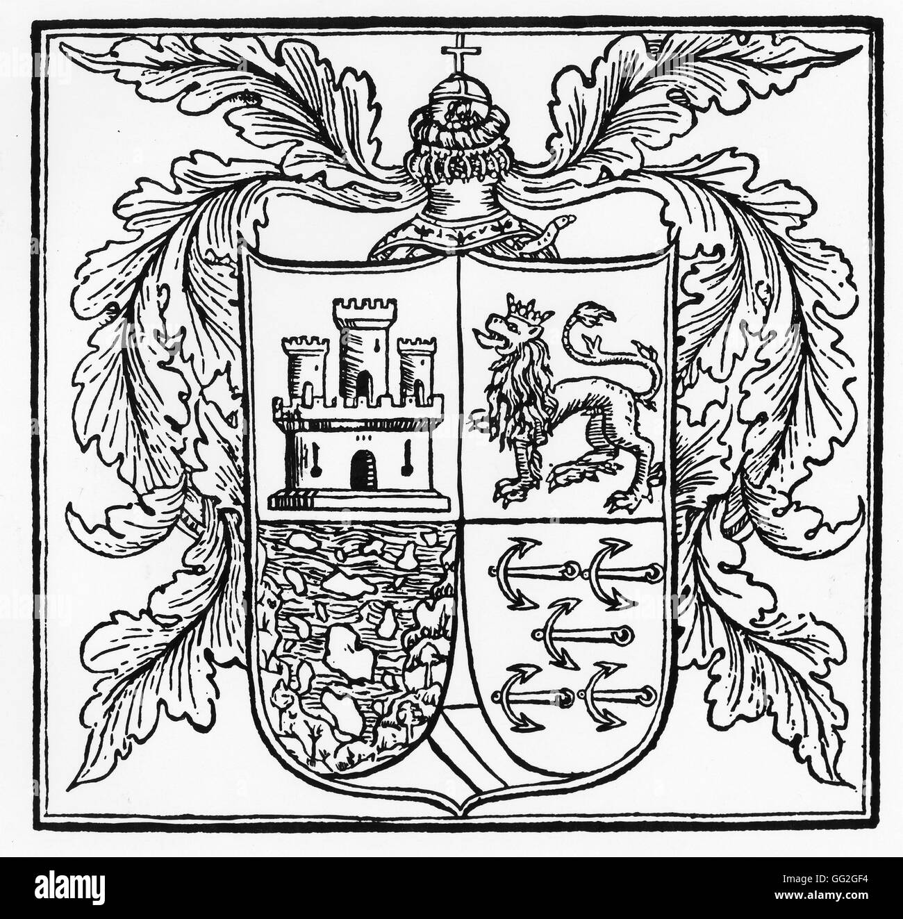 Christopher Columbus' coat of arms in 1502 1st and 2nd quarters, the royal charges of Castile and Leon (castle - Stock Image